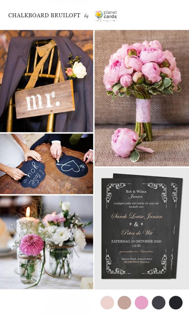 Chalkboard bruiloft